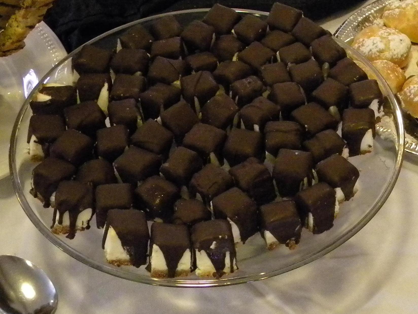 Chocolate Covered Vanilla Cheesecake Bites
